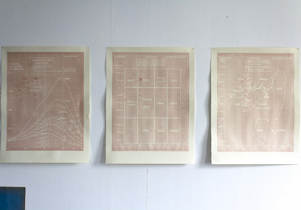 Silkscreen on paper with red beetroot paste – 3 à 80x60cm